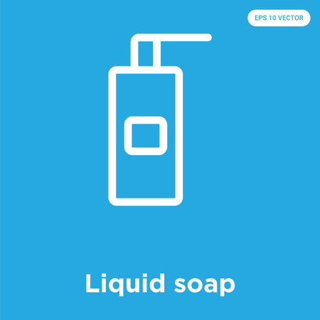 Liquid soap vector icon isolated on blue background, sign and symbol