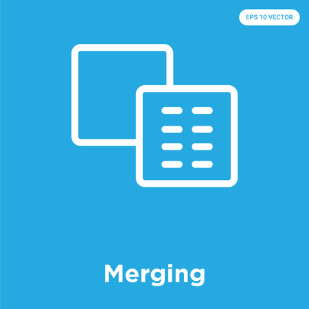 Merging vector icon isolated on blue background, sign and symbol Illustration