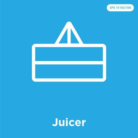 Juicer vector icon isolated on blue background, sign and symbol