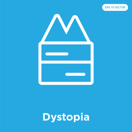 Dystopia vector icon isolated on blue background, sign and symbol
