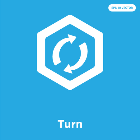 Turn vector icon isolated on blue background, sign and symbol Illustration