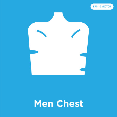 Men Chest vector icon isolated on blue background, sign and symbol Illustration