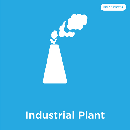 Industrial Plant vector icon isolated on blue background, sign and symbol