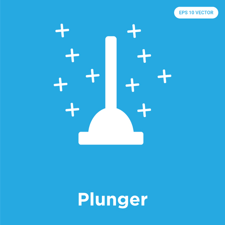 Plunger vector icon isolated on blue background, sign and symbol