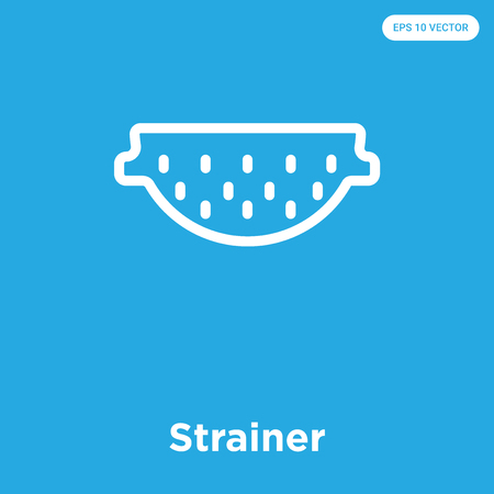 Strainer vector icon isolated on blue background, sign and symbol