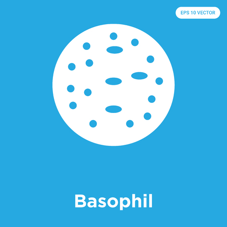 Basophil vector icon isolated on blue background, sign and symbol