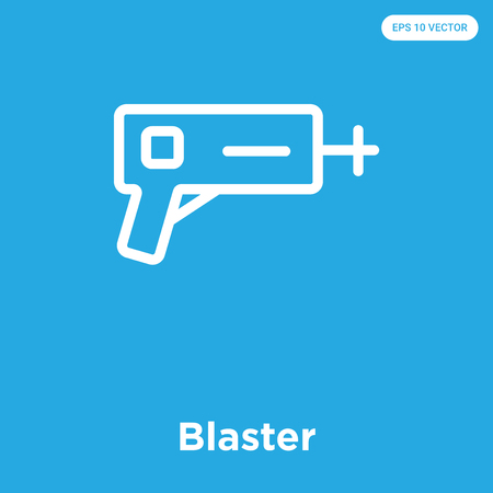 Blaster vector icon isolated on blue background, sign and symbol Illustration