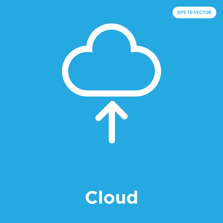Cloud vector icon isolated on blue background, sign and symbol