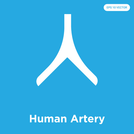 Human Artery vector icon isolated on blue background, sign and symbol