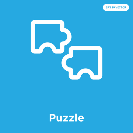 Puzzle vector icon isolated on blue background, sign and symbol Stock Illustratie