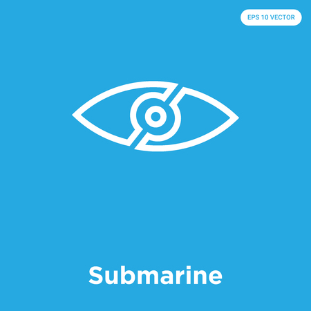 Submarine vector icon isolated on blue background, sign and symbol Illustration
