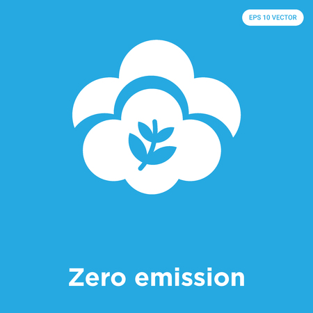 Zero emission vector icon isolated on blue background, sign and symbol Illustration