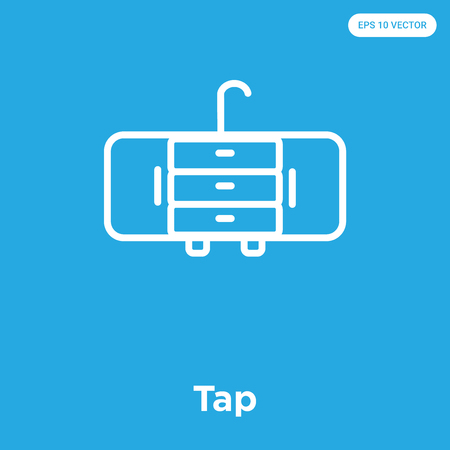 Tap vector icon isolated on blue background, sign and symbol