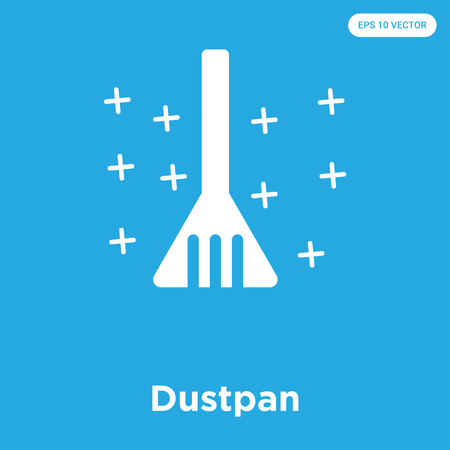 Dustpan vector icon isolated on blue background, sign and symbol