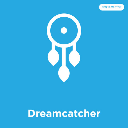 Dreamcatcher vector icon isolated on blue background, sign and symbol