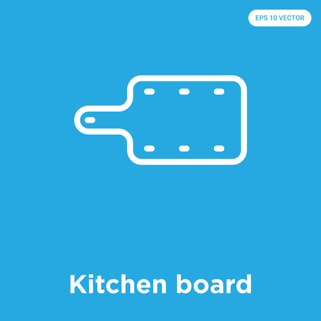 Kitchen board vector icon isolated on blue background, sign and symbol