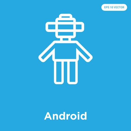 Android vector icon isolated on blue background, sign and symbol Illustration