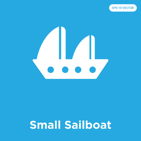 Small Sailboat vector icon isolated on blue background, sign and symbol