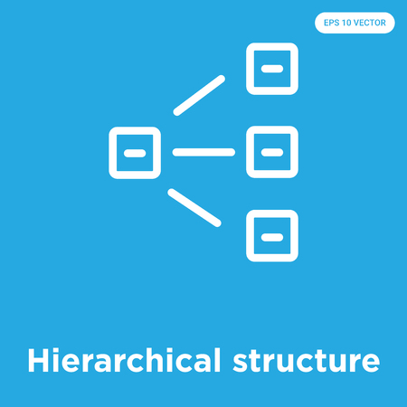 Hierarchical structure vector icon isolated on blue background, sign and symbol