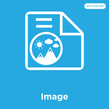 Image vector icon isolated on blue background, sign and symbol