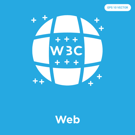 Web vector icon isolated on blue background, sign and symbol