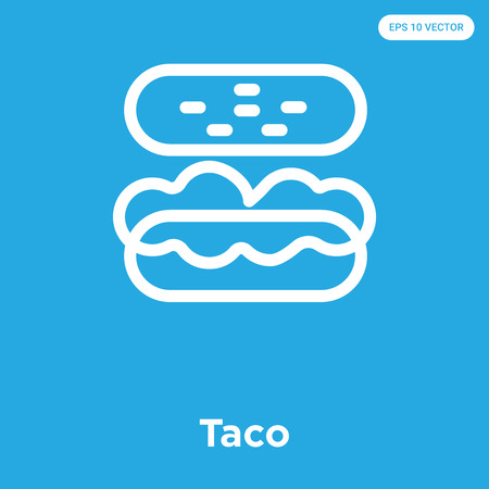 Taco vector icon isolated on blue background, sign and symbol