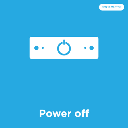 Power off vector icon isolated on blue background, sign and symbol