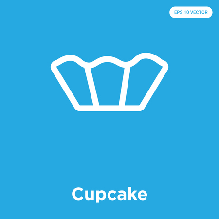 Cupcake vector icon isolated on blue background, sign and symbol
