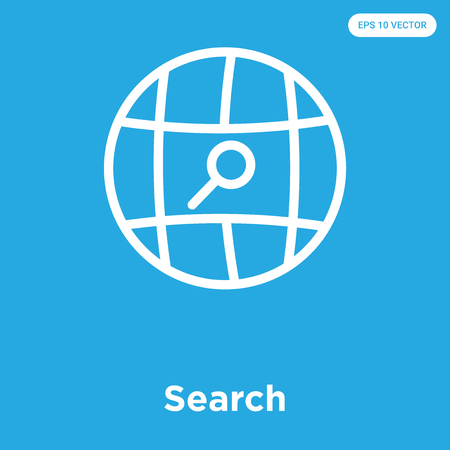 Search vector icon isolated on blue background, sign and symbol Ilustração