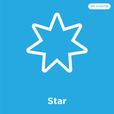 Star vector icon isolated on blue background, sign and symbol