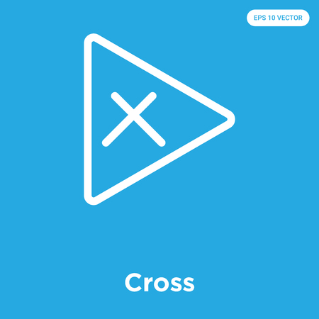 Cross vector icon isolated on blue background, sign and symbol Illustration