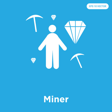 Miner vector icon isolated on blue background, sign and symbol