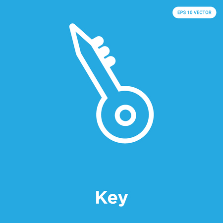 Key vector icon isolated on blue background, sign and symbol