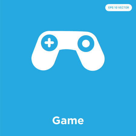 Game vector icon isolated on blue background, sign and symbol Illustration
