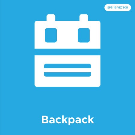 Backpack vector icon isolated on blue background, sign and symbol Ilustração