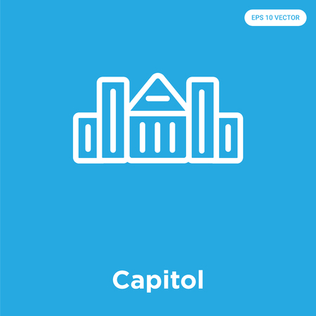 Capitol vector icon isolated on blue background, sign and symbol