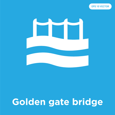 Golden gate bridge vector icon isolated on blue background, sign and symbol