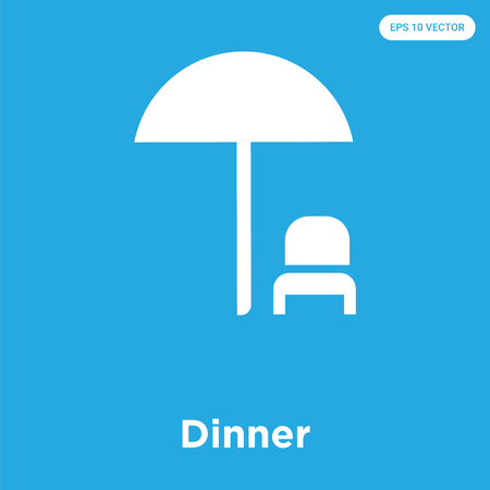 Dinner vector icon isolated on blue background, sign and symbol Illustration