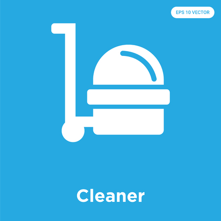 Cleaner vector icon isolated on blue background, sign and symbol