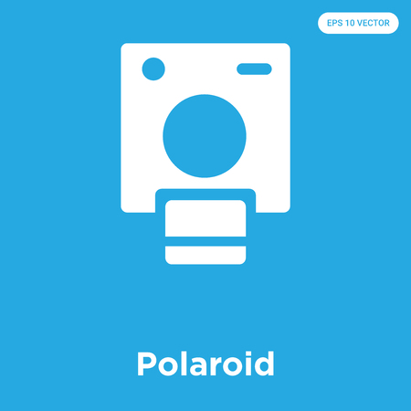 Polaroid vector icon isolated on blue background, sign and symbol Illustration