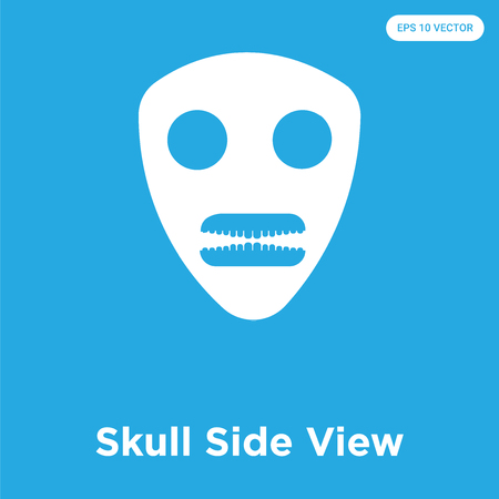 Skull Side View vector icon isolated on blue background, sign and symbol