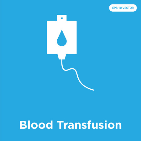Blood Transfusion vector icon isolated on blue background, sign and symbol