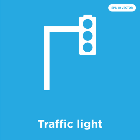 Traffic light vector icon isolated on blue background, sign and symbol Illustration
