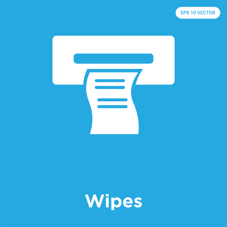 Wipes vector icon isolated on blue background, sign and symbol Illustration