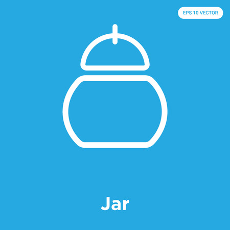 Jar vector icon isolated on blue background, sign and symbol Vettoriali