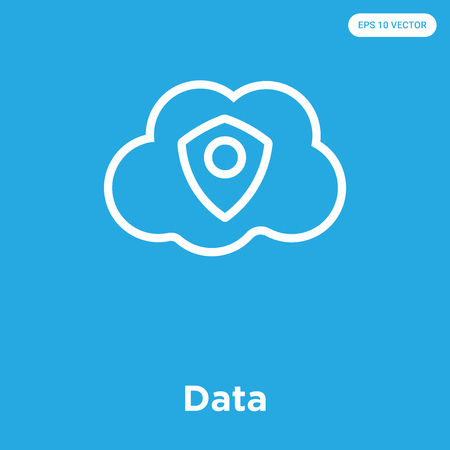 Data vector icon isolated on blue background, sign and symbol Illustration