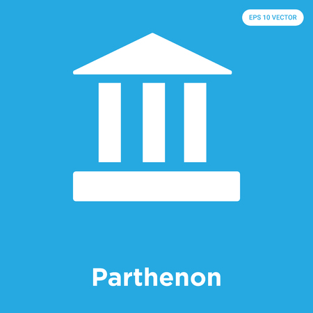 Parthenon vector icon isolated on blue background, sign and symbol Illustration
