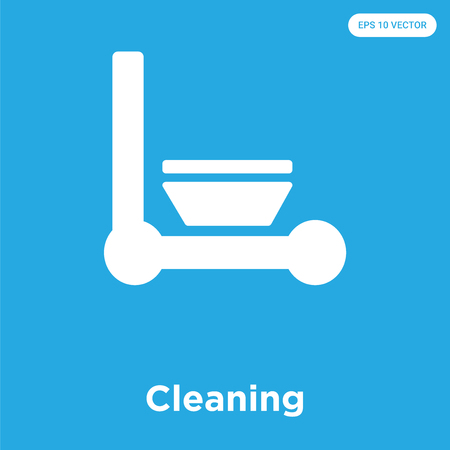 Cleaning vector icon isolated on blue background, sign and symbol Vektoros illusztráció