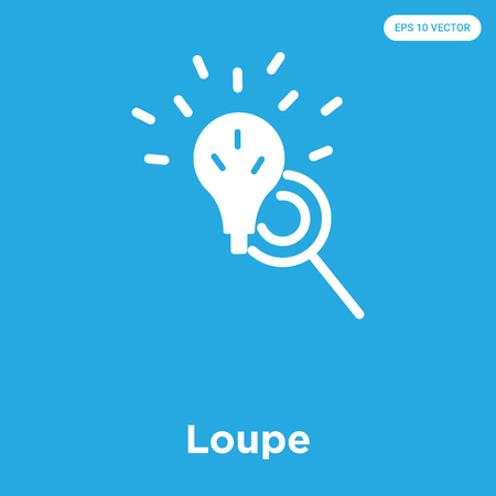 Loupe vector icon isolated on blue background, sign and symbol Ilustração