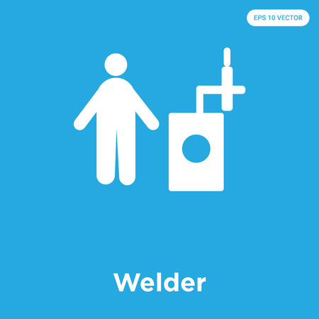 Welder vector icon isolated on blue background, sign and symbol Vettoriali